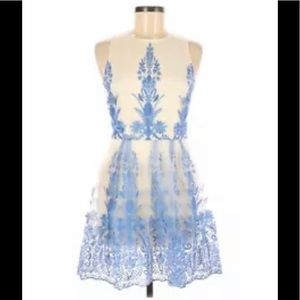 Altar'd State Lace Overlay Fit and Flare Dress